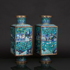 A pair of magnificient Cong cloisonné vases, China, Qing dynasty ( 1644-1911) Polychrome cloisonné on a bronze body.sumptious decoration in repeated composition but with varying themes: The upper section with architecture in landscape. The lower section with floral depictions and animals, including peaches, pomegranates, lotus flowers, cranes and swallows. Foot, shoulder and neck with ornamental borders.