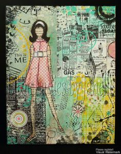 7x10 canvas.  Lots of painting, some Tim Holts tissue wrap, a couple of the Prima Mixed media doll stamps, spectrum Noir pens and a bit of paper peicing of their clothes!  So much fun!