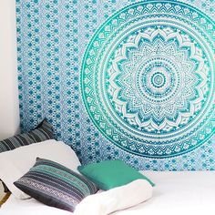 Ombre Mandala Wall Hanging Tapestry Bedding Bedspread Beach Blanket  - Twin/Single