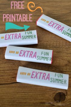printable gum wrappers for a fun summer gift for classmates