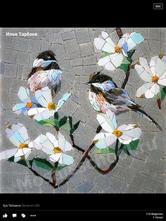 Birds and blooms Pebble Mosaic, Mosaic Diy, Mosaic Garden, Mosaic Crafts, Mosaic Projects, Stone Mosaic, Mosaic Wall, Mosaic Glass, Mosaic Stepping Stones