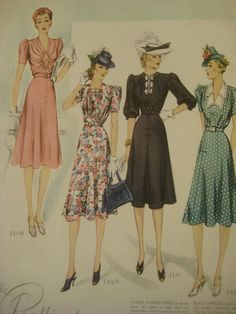 Vintage Fashion Illustrations Dresses from by sewbettyanddot, $8.50