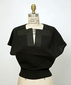 Sweater (Pullover).  Elsa Schiaparelli (Italian, 1890–1973).  Date: 1950s. Culture: French. Medium: wool, silk. Dimensions: Length: 21 in. (53.3 cm).