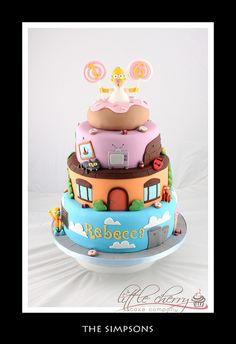 The Simpsons, Cake Bolo Simpsons, The Simpsons, Simpsons Party, Fondant Cakes, Cupcake Cakes, Shoe Cakes, Rodjendanske Torte, Movie Cakes, Cherry Cake