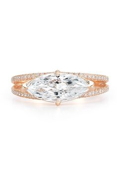 Brides.com: . Round brilliant diamond engagement ring 2.5 carat round brilliant center stone with floral inspired diamond frame in 18k rose gold, price upon request, Kwiat