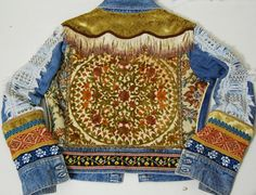 CRUX AND CROW Bohemian denim patched fringe tapestry jacket, handmade