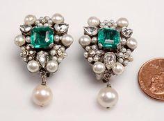 Fine Costume Earrings: Vintage Full Bezel Setting 1950s