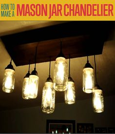 How to Make a Mason Jar Chandelier | http://diyready.com/how-to-make-a-diy-mason-jar-chandelier