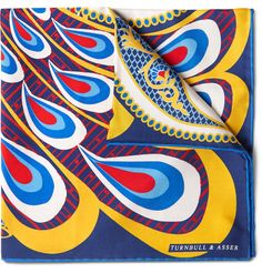 All of <a href='http://www.mrporter.com/mens/Designers/Turnbull_and_Asser'>Turnbull & Asser</a>'s pocket squares are hand-printed in England on the finest silk-twill. This eye-catching accessory features a striking peacock print. Tuck it in the pocket of a navy suit to add sartorial flair to your tailoring.