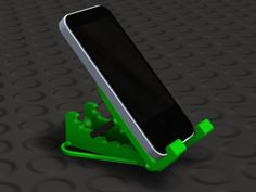 Practical 3D Printing Projects -  Adjustable iPhone Stand  This stand with adjustable tilt holds an iPhone or similar sized phone.