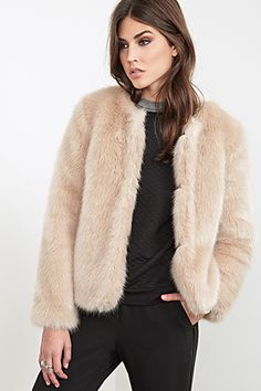 Collarless Faux Fur Jacket ($59.80)