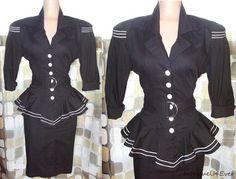 Vintage 50s 80s Peplum Pencil Dress Pin-Up Stewardess Uniform Military BOMBSHELL  http://www.ebay.com/itm/190666017750?ssPageName=STRK:MESELX:IT&_trksid=p3984.m1555.l2649