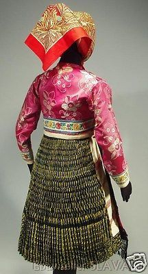 Woman's folk costume from Vazec Slovakia heavy pleated Folk Costume, Costumes, Embroidered Apron, Folk Clothing, Traditional Outfits, Embroidery, Trending Outfits, Skirts, Pink