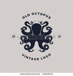 old octopus vintage logo silhouette