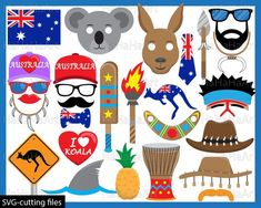 Items similar to Props Australia - Props / Cutting Files svg png jpg digital graphic design cut layer party photo booth prop clown smile girl hat on Etsy Fear Of Flying, Australia Day, Art Clipart, Photo Booth Props, Digital Stamps, Best Part Of Me, Paper Dolls, Clip Art, Drones
