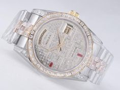 Rolex Day-Date Swiss ETA 2836 Sale Movement Two Tone Diamond Bezel And Dial $198.95