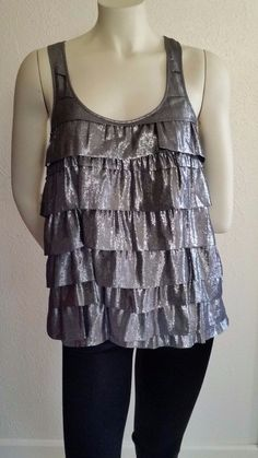 Madison Marcus Dark Gray Silk Metallic Tank Racer Back Size Small | eBay