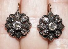 Antique French 18K Gold and Silver Diamond Earrings, Napoleon III / Victorian