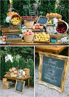 Farmer's Market Wedding Details Happy Monday, lovelies! The theme for this month is farmer's market, and we'll be focusing on everything farm-to-table and organic and rustic and generally farm fabulous, alongside our … Farmers Market Display, Market Displays, Fruit Displays, Farmers Market Stands, Farmers Market Outfit, Farmers Market Recipes, Deco Buffet, Fruit Shop, Fruit Stands