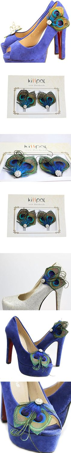 KISSPAT One Pair Peacock Feather Shoe Clips, Shoe Decorations, Handmade Wedding Shoe Clips