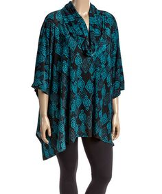 Look what I found on #zulily! Black & Teal Geometric Cowl Neck Tunic - Plus #zulilyfinds