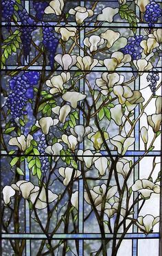 Stained Glass - Magnolia and Wisteria, Tiffany Studios | JV