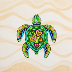 Retro Art Print from SummerHour Retro Turtle with by SummerHour
