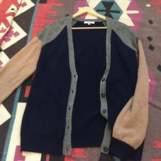 Madewell Cardigan Preppy, navy, tan, and grey knit Madewell cardigan. Slightly worn and in good condition! Madewell Sweaters Cardigans