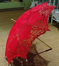 Made with battenburg lace. White OR Black color lace parasol… Lace Umbrella, Lace Parasol, Under My Umbrella, Umbrellas Parasols, Shades Of Red, Red Lace, Vintage Lace, My Favorite Color, Lady