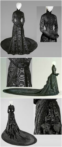 "Court dress of black silk moiré with lace trim and rich jet-bead embroidery, made by Fanny Scheiner, Vienna, 1880/90. Belonged to Empress Elisabeth (""Sisi""). Collection of Imperial Carriage Museum / Kunsthistorisches Museum, via Google Cultural Institute."