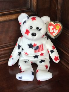 Beanie Baby, Stars with American Flag Beanie Babies Worth Money, Valuable Beanie Babies, Rare Beanie Babies, Original Beanie Babies, Beanie Baby Bears, Ty Beanie Boos, Ty Babies, Vintage Porcelain Dolls, Collectible Toys