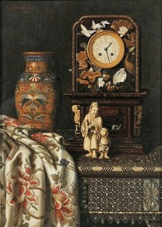 Still Life with Clock, Vase, and Ivory Figures by Max Schödl 1888