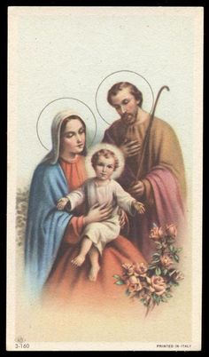 """SANTINO-HOLY CARD """"ediz.NB serie 3 n.160 SACRA FAMIGLIA - EUR 4,00. SANTINO-ANDACHTSBILD-IMAGE PIEUSE-HOLY CARD VECCHIO SANTINO ORIGINALE. costi di imballaggio e spedizione versand und verpackungskosten costs of packing and shipment il costo aumentera' se la spedizione supera i 100 grammi the cost will increase if the shipment excceds 100 grams uber 100 gr. gewicht steigen die portokosten **** metodi di pagamento (accettati) forms of payment (i accept) akzeptierte zahlungsmethoden bonifico… Blessed Mother Mary, Blessed Virgin Mary, Catholic Art, Catholic Saints, Benediction Prayer, White Jesus, Catholic Pictures, Vintage Holy Cards, Glass Painting Designs"""