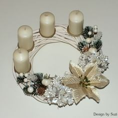 Advent wreath itself - pictures and instructions in simple steps Brown Candles, Yellow Candles, Photomontage, Catholic Advent Wreath, Third Sunday Of Advent, Homemade Christmas Wreaths, Advent Season, Beautiful Christmas Decorations, Christmas Candles