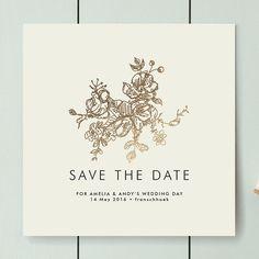 "Brides.com: . ""Elegance Illustrated"" foil-pressed save-the-date, $193 for 100, Phrosne Ras for Minted"