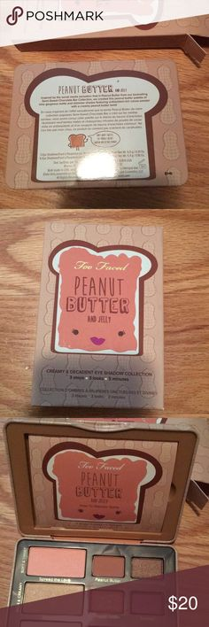 TOO FACED PEANUT BUTTER AND JELLY PALETTE!! This is a brand new Too Faced Peanut Butter and Jelly Palette! It was a gift, but I already have this palette, and my aunt never gave me the receipt. It has never been swatched, but she said it is from Ulta!! My personal one is so pretty, and it smells like peanut butter 😍 I am willing to negotiate, but no trades please! Too Faced Makeup Eyeshadow