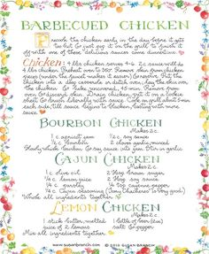 Susan Branch barbecued Chicken (Also, Bourbon, Cajon, and Lemon Chicken). If you have never made a Susan Branch recipe, you are in for a treat :) Old Recipes, Vintage Recipes, Turkey Recipes, Chicken Recipes, Cooking Recipes, Recipies, Chicken Meals, Yummy Recipes, Lasagna Recipes