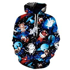 Looking for really original and creative hoodie that you will wear with joy? I quess you just find it. This Galaxy Cat Printed Hoodie is exactly what are you looking for. You can wear it whenever you want as it just cool for every occasion. Lil Peep Hoodie, Wolf Hoodie, Galaxy Cat, Dancing Cat, Unique Hoodies, Yellow Hoodie, Kittens, Street Wear, 3d