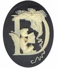 "Item#140x Acrylic 40x30 black/ivory letter ""D"" cameo"