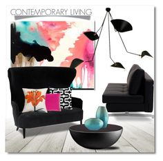 """""""Contemporary Living Room"""" by pattykake ❤ liked on Polyvore featuring interior, interiors, interior design, home, home decor, interior decorating, Myne, Serge Mouille, Tom Dixon and living room"""