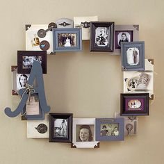 36 Creative and Inspiring Wooden Picture Frame Decorating Ideas - DecoRelated Diy Photo, Cadre Photo Diy, Photo Craft, Picture Frame Crafts, Collage Picture Frames, Wooden Picture Frames, Frames On Wall, Collage Ideas, Picture Frame Wreath