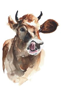 Art Watercolor Painting  Cow  9x12 inches handmade by YuliaShe, $54.00