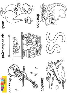 Alfabet - litera S - kolorowanki, malowanki dla dzieci do druku. Montessori, Therapy, Letters, Workout, Education, Learning, Face, Kids, Speech Language Therapy