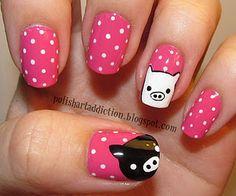 Monokuro Boo nail art manicure!!