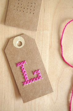 21 Creative Cross Stitch Projects -Flamingo Toes For gift tags on girls gifts Cross Stitching, Cross Stitch Embroidery, Cross Stitch Patterns, Paper Embroidery, Craft Tutorials, Craft Projects, Embroidered Gifts, Diy Gifts, Handmade Gifts