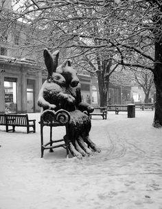 The Hare and the Minotaur sculpture on Cheltenham Promenade in the snow Cheltenham Spa, The Minotaur, Rabbit Art, Destinations, Winter's Tale, Winter Wonderland, Street Art, Places To Visit, Lion Sculpture