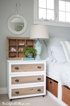 Ikea Tarva Hack - my new night stands - The Lilypad Cottage.  Amazing DIY dresser, and bed platform and linens and EVERYTHING!!!  Love this girls blog!!!!