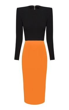 Fashioned in a color block design, Alex Perry's 'Darley' dress is made from crepe with a vibrant tangerine-hued skirt. This figure-sculpting midi silhouette is complete with a bold shoulder for framing a tousled 'do. Alex Perry, Elegant Outfit, Sophisticated Dress, Sequin Mini Dress, Orange Dress, Daily Fashion, Women's Fashion, Dress Outfits, Fashion Dresses