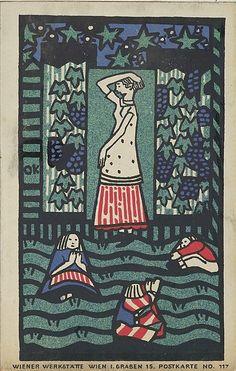 Kokoschka, Oskar, postcard No. woman with three children, Vienna, 1908 - Painting Style Art Nouveau, Girl Artist, Artists For Kids, Art Graphique, Arts And Crafts Movement, Art Deco Design, Three Kids, Metropolitan Museum, All Art