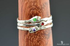 Grab 3 Thin Freeform Mother's Rings Birthstone by Alaridesign Bff Rings, Promise Rings, Silver Stacking Rings, Silver Rings, Measure Ring Size, Thing 1, Three Rings, Mother Rings, Wedding Rings For Women